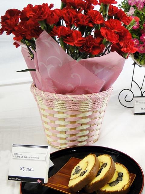 【e87】鉢植えセット「京都・伏見三源庵 黒豆ロールカステラ」