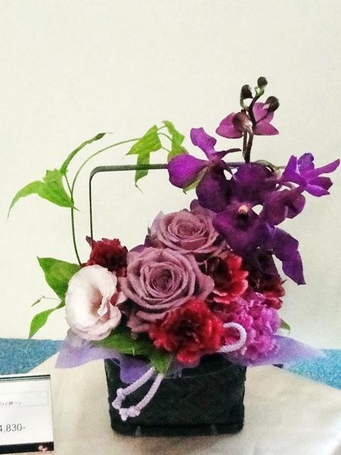 e87母の日 和風アレンジメント「紫艶?癒しのひと時?」