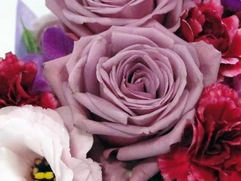 【e87】母の日 和風アレンジメント「紫艶?癒しのひと時?」