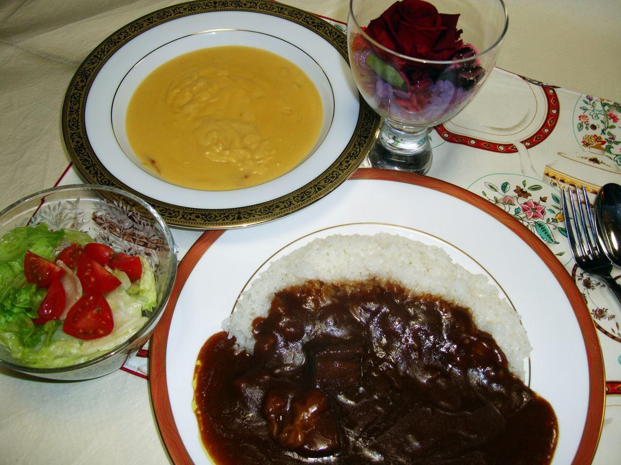 【e87】三国シェフカレー&スープセットとプリザードフラワー母の日セット