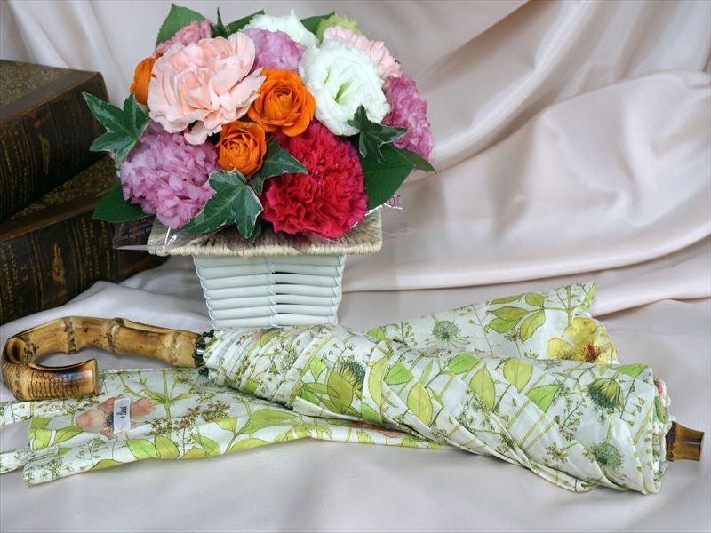母の日 リバティプリント「日傘」とアレンジメントのセット