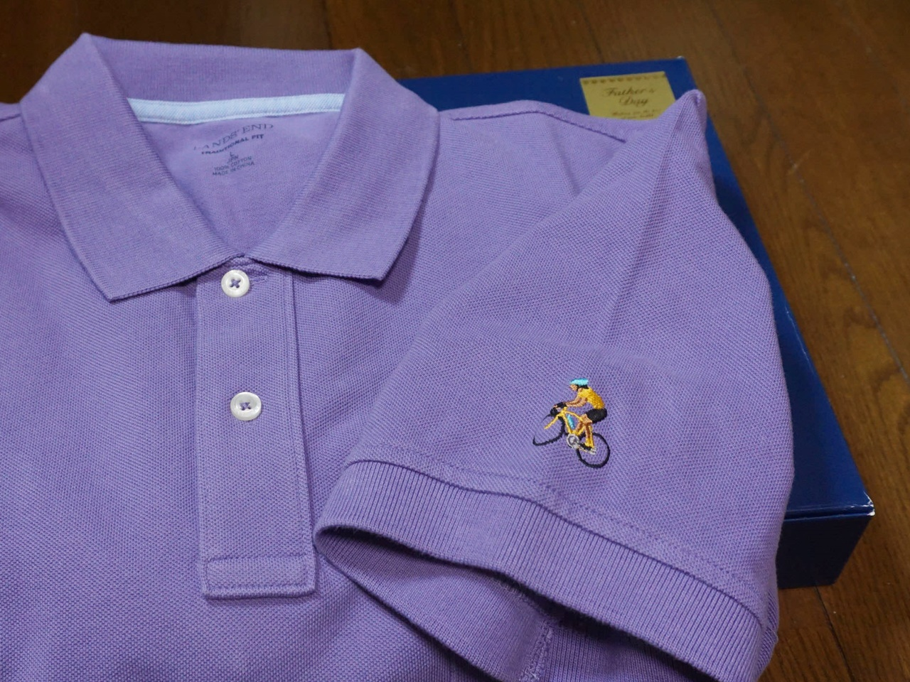 ■【ランズエンド】ポロシャツの袖に刺繍をオーダー
